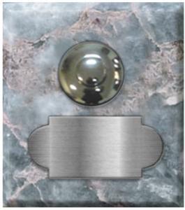 marbre gris tifflit carré 62x70 étiquette+bouton poussoir chromés