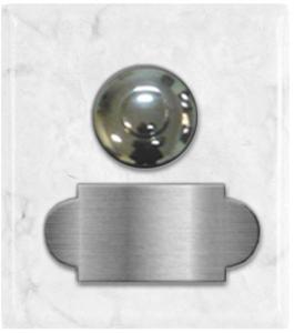 marbre blanc cararre carré 62x70 étiquette+bouton poussoir chromés