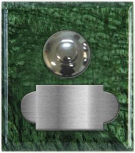 marbre vert guatémala carré 62x70 étiquette+bouton poussoir chromés
