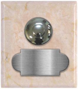 marbre beige crema marfil carré 62x70 étiquette+bouton poussoir chromé