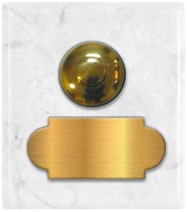 marbre blanc cararre carré 62x70 étiquette+bouton poussoir laiton