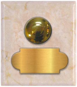 marbre beige crema marfil carré 62x70 étiquette+bouton poussoir laiton