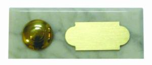 blanc cararre 40x92 étiquette+bouton laiton
