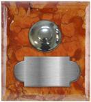 marbre rouge veronne carré 62x70 étiquette+bouton poussoir chromés
